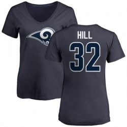 Women's Troy Hill Los Angeles Rams Name & Number Logo Slim Fit T-Shirt - Navy