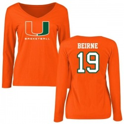 Women's Tucker Beirne Miami Hurricanes Basketball Name & Number Long Sleeve T-Shirt - Orange