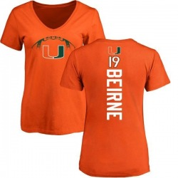Women's Tucker Beirne Miami Hurricanes Football Backer V-Neck T-Shirt - Orange