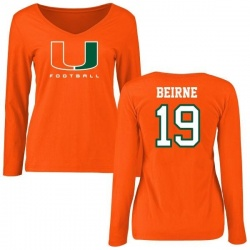 Women's Tucker Beirne Miami Hurricanes Football Long Sleeve T-Shirt - Orange