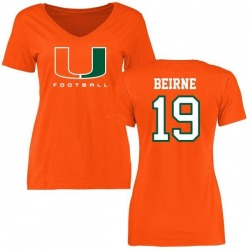 Women's Tucker Beirne Miami Hurricanes Football T-Shirt - Orange
