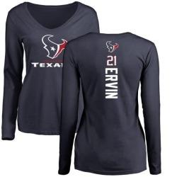 Women's Tyler Ervin Houston Texans Backer Slim Fit Long Sleeve T-Shirt - Navy