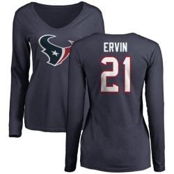 Women's Tyler Ervin Houston Texans Name & Number Logo Slim Fit Long Sleeve T-Shirt - Navy