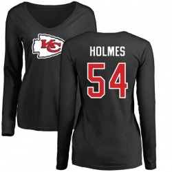 Women's Tyrone Holmes Kansas City Chiefs Name & Number Logo Slim Fit Long Sleeve T-Shirt - Black