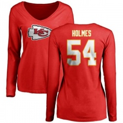 Women's Tyrone Holmes Kansas City Chiefs Name & Number Logo Slim Fit Long Sleeve T-Shirt - Red