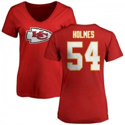 Women's Tyrone Holmes Kansas City Chiefs Name & Number Logo Slim Fit T-Shirt - Red