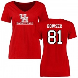 Women's Tyus Bowser Houston Cougars Basketball Slim Fit T-Shirt - Red