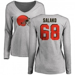 Women's Victor Salako Cleveland Browns Name & Number Logo Slim Fit Long Sleeve T-Shirt - Ash