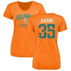 Women's Walt Aikens Miami Dolphins Orange Distressed Name & Number Tri-Blend V-Neck T-Shirt