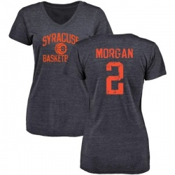 Women's Wayne Morgan Syracuse Orange Distressed Basketball Tri-Blend V-Neck T-Shirt - Navy