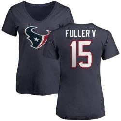 Women's Will Fuller V Houston Texans Name & Number Logo Slim Fit T-Shirt - Navy