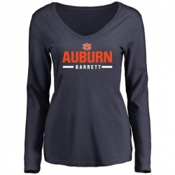 Women's Woody Barrett Auburn Tigers Sport Wordmark Long Sleeve T-Shirt - Navy