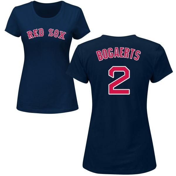 huge selection of 52784 5ed03 Women's Xander Bogaerts Boston Red Sox Roster Name & Number T-Shirt - Navy  - Teams Tee