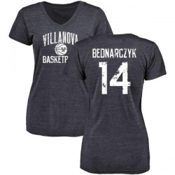 Women's Zach Bednarczyk Villanova Wildcats Distressed Basketball Tri-Blend V-Neck T-Shirt - Navy