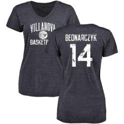 Women's Zach Bednarczyk Villanova Wildcats Distressed Basketball Tri-Blend V-Neck T-Shirt - Navy