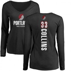 Women's Zach Collins Portland Trail Blazers Black Backer Long Sleeve T-Shirt