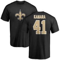 Youth Alvin Kamara New Orleans Saints Name & Number Logo T-Shirt - Black
