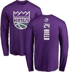 Youth Buddy Hield Sacramento Kings Purple Backer Long Sleeve T-Shirt