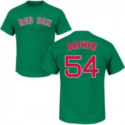 Youth Colten Brewer Boston Red Sox St. Patrick's Day Roster Name & Number T-Shirt - Green