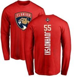 Youth Ed Jovanovski Florida Panthers Backer Long Sleeve T-Shirt - Red