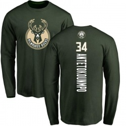 Youth Giannis Antetokounmpo Milwaukee Bucks Green Backer Long Sleeve T-Shirt