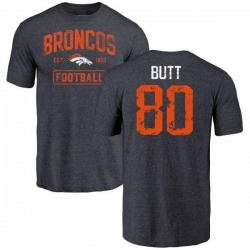 Youth Jake Butt Denver Broncos Navy Distressed Name & Number Tri-Blend T-Shirt