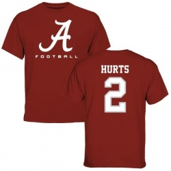 Youth Jalen Hurts Alabama Crimson Tide Football Logo T-Shirt - Crimson