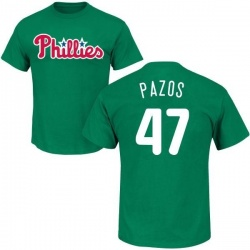 Youth James Pazos Philadelphia Phillies St. Patrick's Day Roster Name & Number T-Shirt - Green