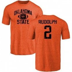 Youth Mason Rudolph Oklahoma State Cowboys Distressed Football Tri-Blend T-Shirt - Orange