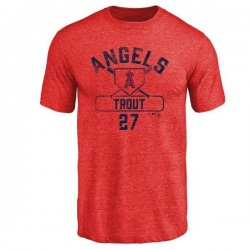 Youth Mike Trout Los Angeles Angels Base Runner Tri-Blend T-Shirt - Red