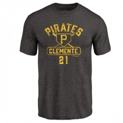 Youth Roberto Clemente Pittsburgh Pirates Base Runner Tri-Blend T-Shirt - Black