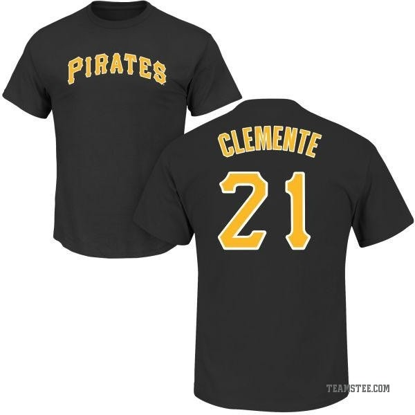 size 40 ded6b d1549 Youth Roberto Clemente Pittsburgh Pirates Roster Name & Number T-Shirt -  Black - Teams Tee
