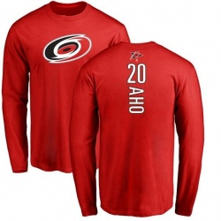 Youth Sebastian Aho Carolina Hurricanes Backer Long Sleeve T-Shirt - Red