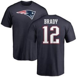 Youth Tom Brady New England Patriots Name & Number Logo T-Shirt - Navy